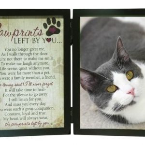 cat loss pawprints left by you memorial photo frame