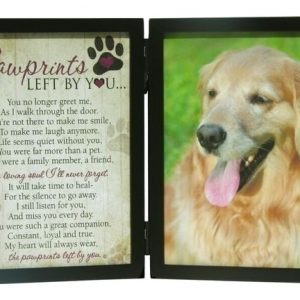 pawprints left by you photo memorial frame dog loss