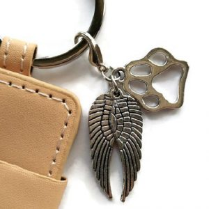 memorial photo cat loss key chain angel wing and paw charm