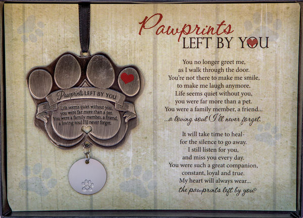 pawprints left by you medallion pet loss ornament