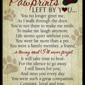 pawprints left by you timber memorial plaque