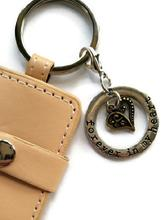 pet loss memorial photo key chain forever in my heart charm tan